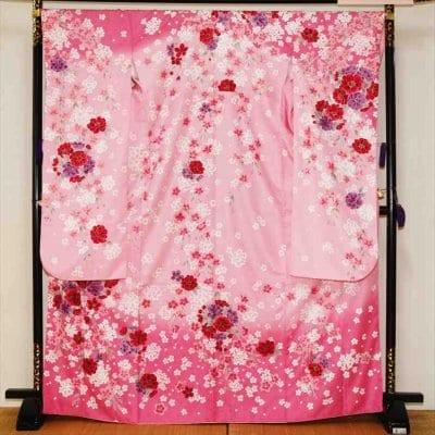 中振/ピンク牡丹に桜(化)泉友彩/袖108 2320-060