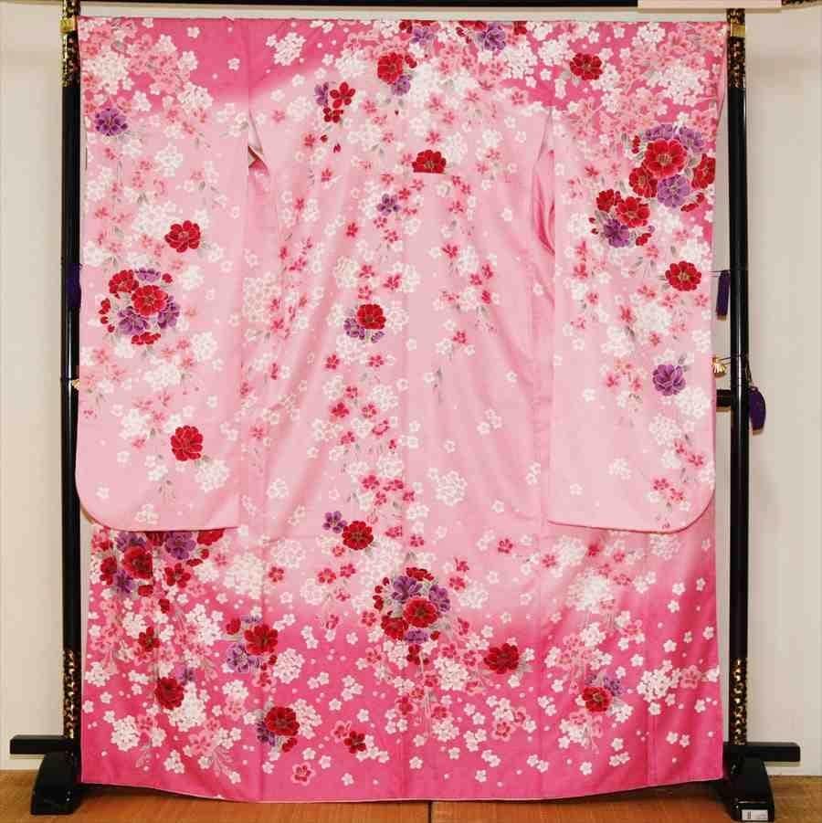中振/ピンク牡丹に桜(化)泉友彩/袖108 2320-060のイメージその1
