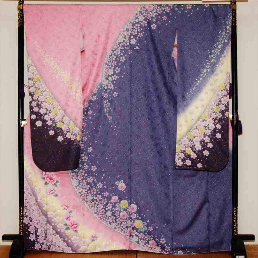 中振/ピンクブルーラメに桜  (正)とみおかや 袖丈112cm 2320-020のイメージその1
