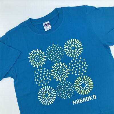 長岡花火Tシャツ|ハンカチタオルとお揃い|カラフル|ターコイズ×イエロー