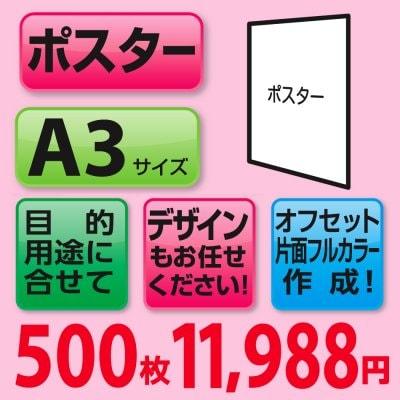 ポスター印刷500枚(A3サイズ/片面フルカラー)
