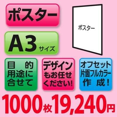 ポスター印刷1000枚(A3サイズ/片面フルカラー)