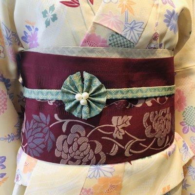 ワンタッチ帯締め(七宝柄)リボン帯留め付き