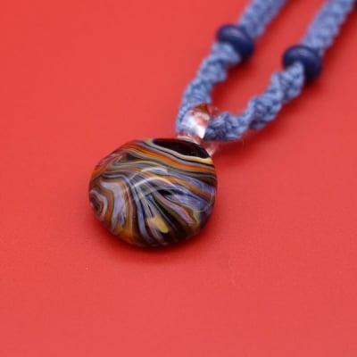 日本製 ガラス ネックレス ペンダント マーブル 麻 藍染め 耐熱ガラス KaRin GLASS