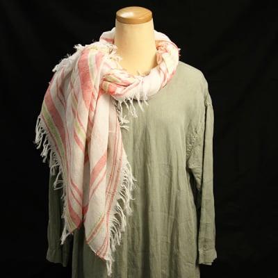 日本製 播州織 ストール 正方形 ジャガード織 岡治織物 コットン100% レディース レッド