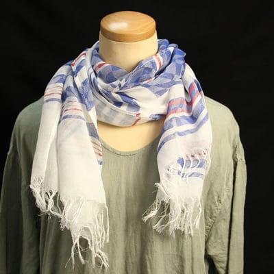 日本製 播州織 ストール ミドル シャガード織 岡治織物 コットン100% レディース ホワイトブルー