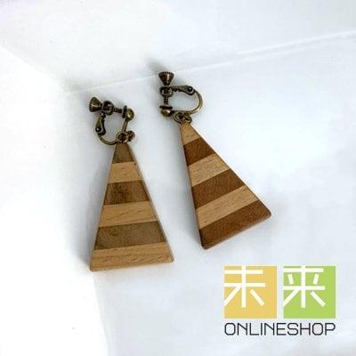 【ウッドアクセサリー】寄木のイヤリング(サクラ・ブナ)・イヤリングorピアス変更可能