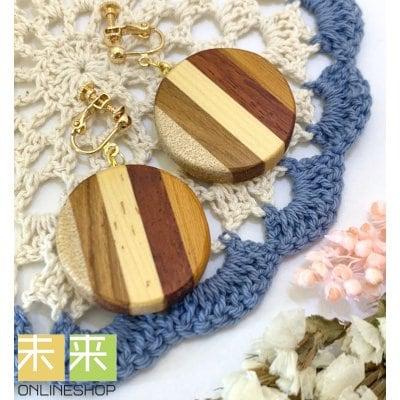 【ウッドアクセサリー】寄木のイヤリング(イチイ他)・イヤリングorピアス変更可能