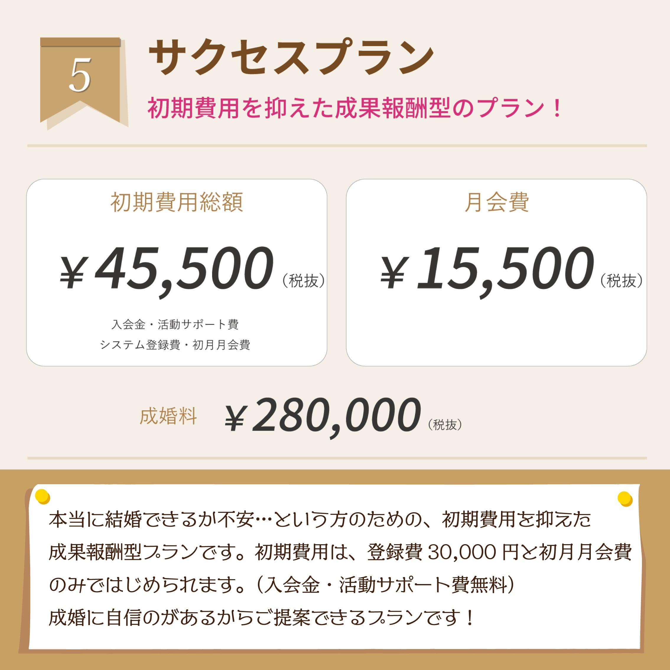 ④結婚のチケット(サクセスプラン)ご入会初期費用【ツクツク限定!ポイント10%還元】のイメージその2