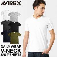 メンズ半袖Tシャツ3枚セット/Vネック/XL/リブ/ホワイト/チャコット/オリーブ