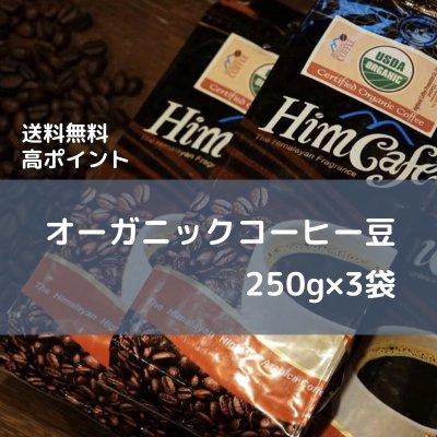 【送料無料/高ポイント】オーガニックコーヒー<豆のまま>250g×3袋/ネパール生まれのヒムカフェ/毎朝の...