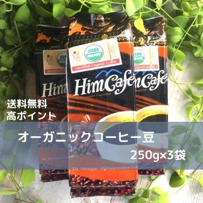 【送料無料/高ポイント】オーガニックコーヒー<豆のまま>250g×3袋/ネ...