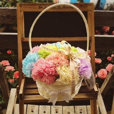 ふんわり香る♪【シャボンフラワーの花籠】