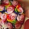 見た目も香りもゴーシャス!!【シャボンフラワーのバラの花束(大)〜レインボー〜】