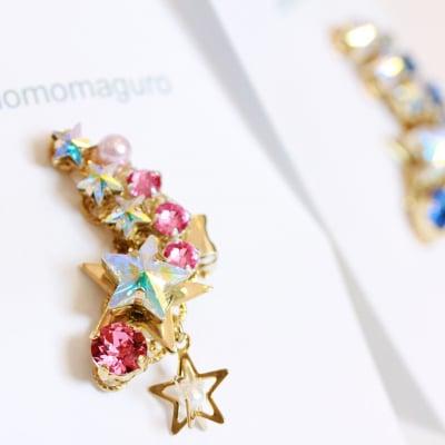 恋する流れ星イヤリングピンク【ピアスに変更可】高ポイント!