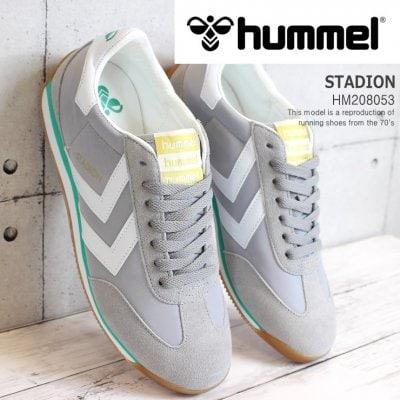 ヒュンメル スニーカー hummel STADION HM208053-1100(ALLOY) スタディオン メンズ レディースレトロランニングシューズ スポーツ カジュアルシューズ ヒュンメルライフスタイルシューズ