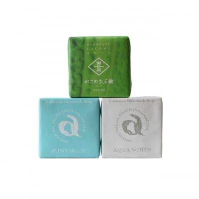 〈肌ケア〉北海道石鹸セット(ミントブルー&アクアホワイト&がごめ生石鹸)