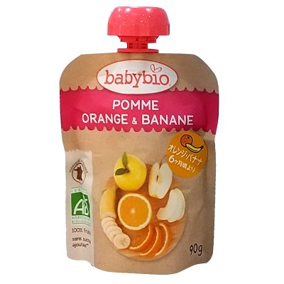 babybio 有機栽培ベビースムージー【アップル・オレンジ・バナナ】甘味料添加物不使用