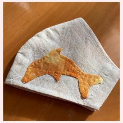 【アップリケマスク】キッズ用 手作りマスク(黄色のイルカ)