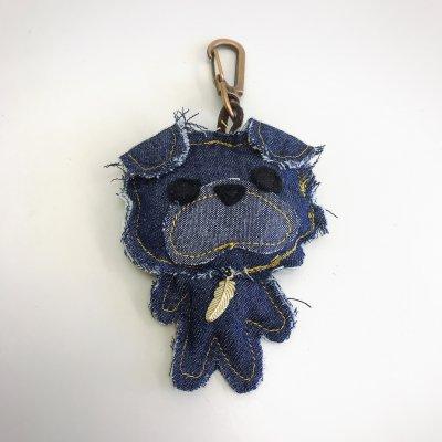 パグバッグチャーム【濃紺、葉っぱ】