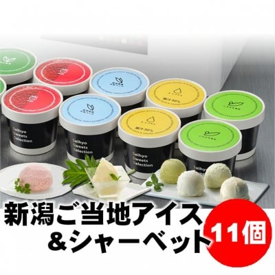【お中元】新潟ご当地アイス&シャーベット11個|KA310|バニラ/越後姫/ル レクチェ/くろさき茶豆