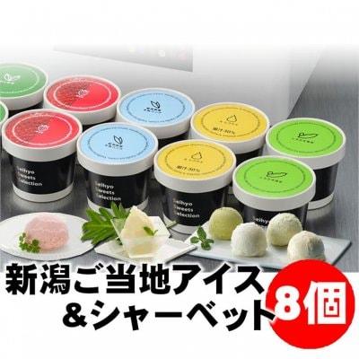 【お中元】新潟ご当地アイス&シャーベット8個|KA309|バニラ/越後姫/ル レクチェ/くろさき茶豆