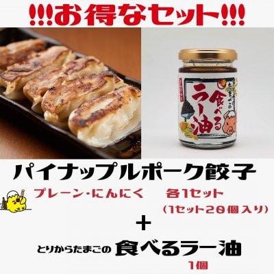 【餃子・ラー油セット】(冷凍ぎょうざ20ヶ入2種類+ラー油1個)初めてご...