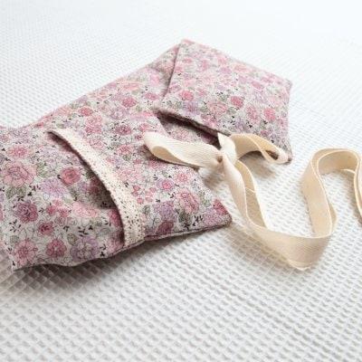あずきホットパット(ロングひも付き)YUWA花柄ピンク