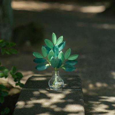【かみ様の榊】ガラス器付き お手入れ不要 天然素材の榊 神棚 パワースポット用