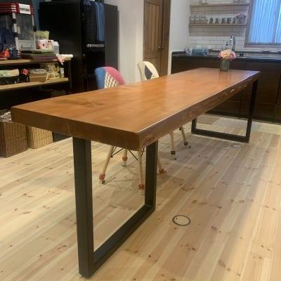 【無垢板】一枚テーブル| 長さ260センチ/幅60センチ-65センチ/高さ76センチ