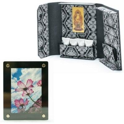 ミニ仏壇❘ポータブル仏壇❘博多織シリーズ 黒 写真立て付き「愛偲手箱」あいさいてばこ