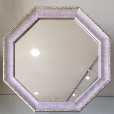 【運気アップ♪】ヴィンテージ八角ミラーピンク色Mサイズ