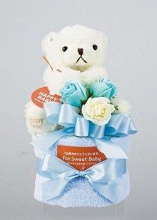 【出産のお祝いに】おむつケーキ1段 パンパース紙おむつSサイズ13枚・フェイスタオル1枚・クマのぬいぐるみ