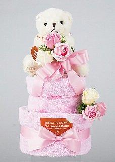 【出産のお祝いに】おむつケーキ2段 パンパース紙おむつSサイズ30枚・フェイスタオル2枚・クマのぬいぐるみ