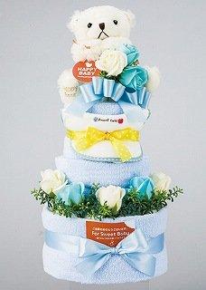 ご出産お祝いに】おむつケーキ3段 パンパース紙おむつSサイズ50枚・フェイスタオル3枚・スタイ1枚・クマのぬいぐるみ