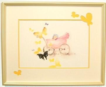 いわさきちひろ額インテリアアート『蝶と乳母車と赤ちゃん』