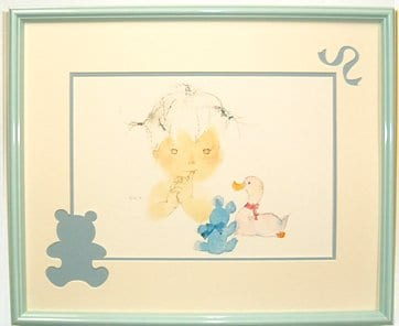 いわさきちひろ額インテリアアート『アヒルとクマと赤ちゃん』