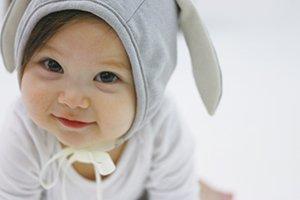 ご出産のお祝いにアニマル帽子&ブルマ2点セット 耳がついた帽子とファ...
