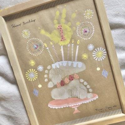 手形足形アート【バースデーケーキ】A4サイズ・3ペタ