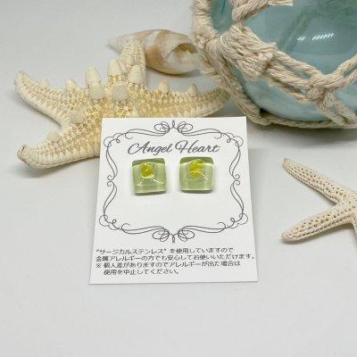 【ピアス】ガラスタイルピアス2個セット(イエロー)