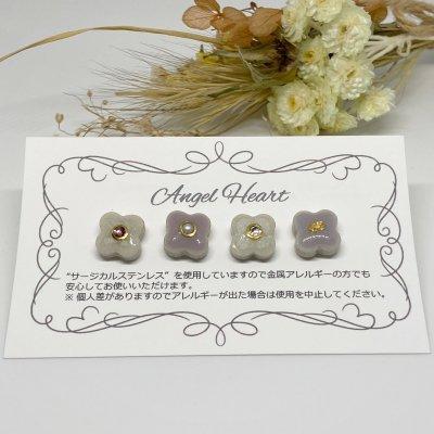 【ピアス】美濃焼タイルピアス 4個セット(ホワイト&パープル)