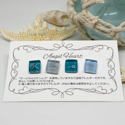 【ピアス】ガラスタイルピアス 4個セット