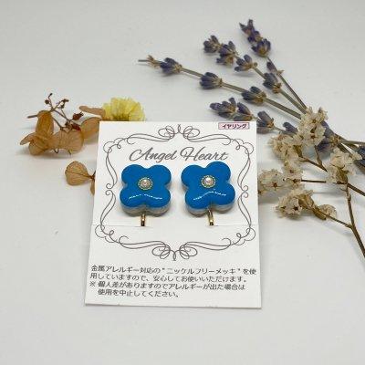 【イヤリング】美濃焼タイルイヤリング(大) 花2個セット ブルー