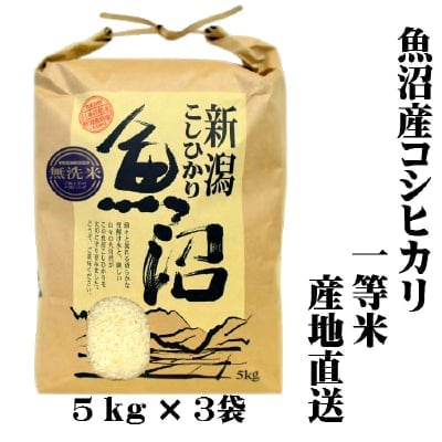 【新米/一等米】/送料無料/令和2年産/魚沼産コシヒカリ/無洗米/5㎏×3袋/...