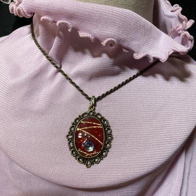 レジン和紙を使ったネックレス(オーバル型)