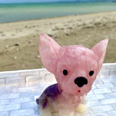 【現地払いまたはクレジット】 オルゴナイト/犬(チワワ)/高さ約8cm/ローズクォーツ