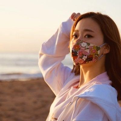 Harmonyマスク 和柄×黄土
