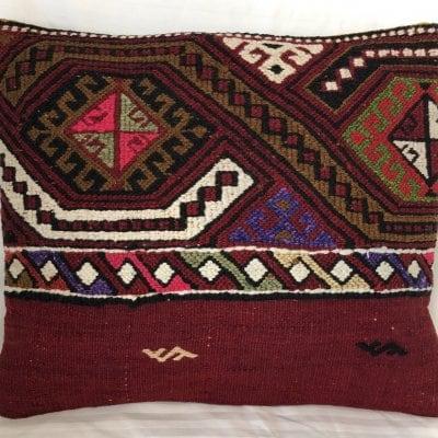 トルコ製 ウール 手織りキリム オールドキリム クッションカバー