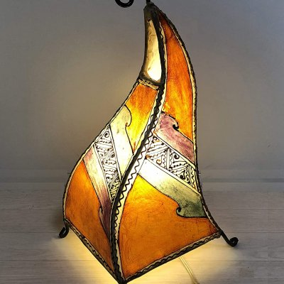 モロッコ製 レザー&アイアン ランプシェード スタンドランプ 山羊革 高さ42cm E17型電球