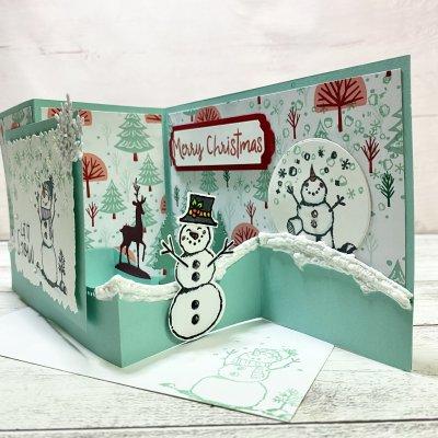 【クリスマスカード】スノーマン グリーン